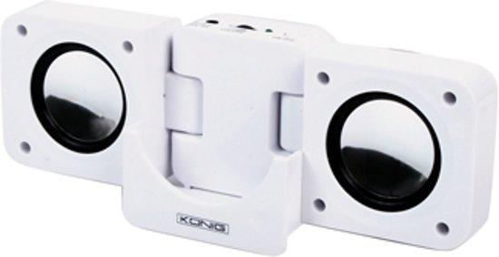 König MP3-SP10 Draadloze stereoluidspreker 3.6W Zwart, Wit draagbare luidspreker