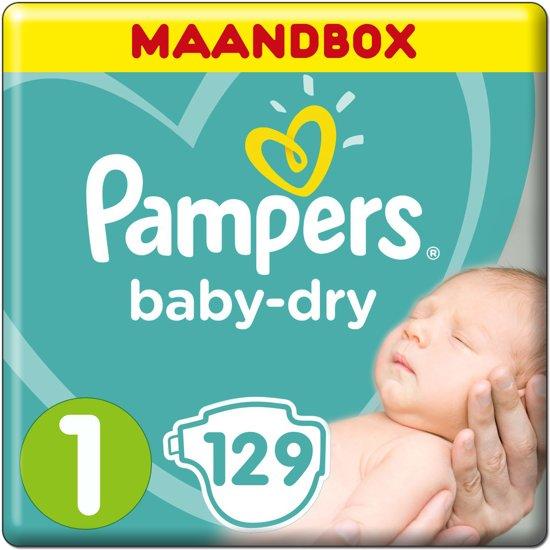 Pampers Baby Dry Luiers (New Born)   Maat 1   Maandbox   129 luiers   Luiers voor een pasgeboren baby 2-5KG