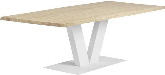 Eettafel Industrieel   V-poot-recht-blank   60mm-opgedikt-180x90-whitewash