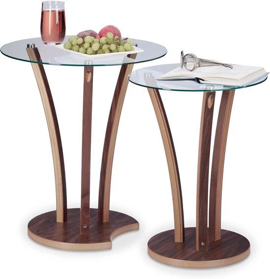 2 Glazen Bijzet Tafeltjes.Relaxdays Bijzettafel Set Van 2 Stuks Salontafel Glastafel Klein Woonkamer Tafel