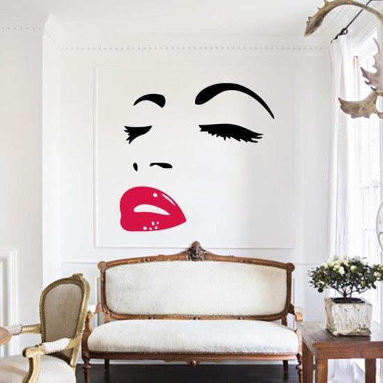 muursticker gezicht marilyn monroe woonkamer slaapkamer modern decoratie stijlvol