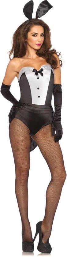 Classic Bunny kostuum - S - Zwart, Wit - Leg Avenue