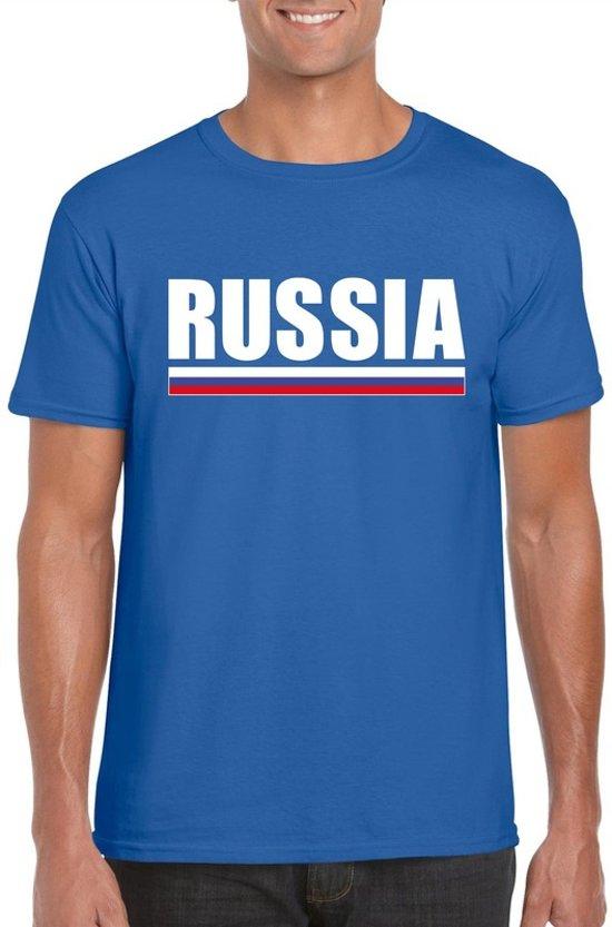 Blauw Rusland supporter t-shirt voor heren - Russische vlag shirts 2XL