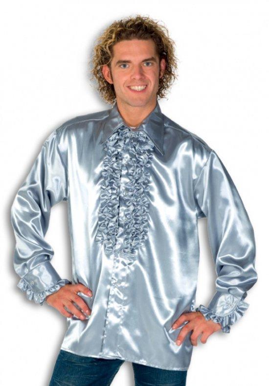 Rouche overhemd voor heren zilver 2xl
