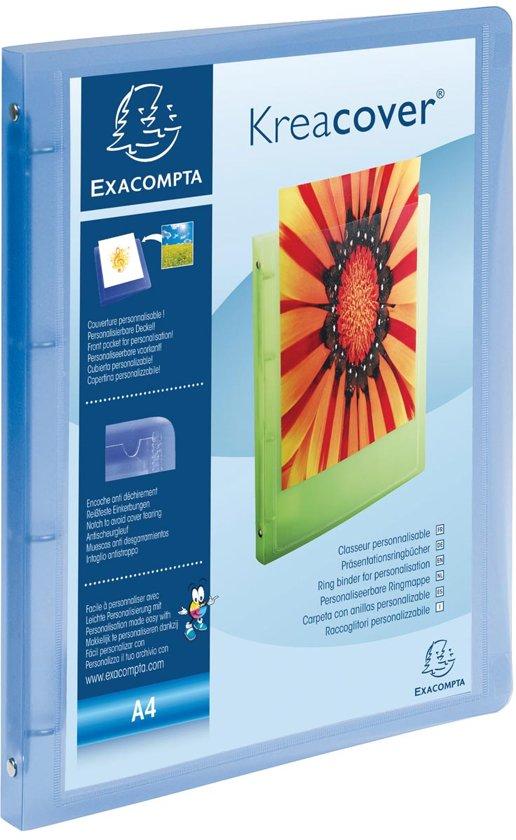 12x Exacompta Personaliseerbare ringmap Kreacover 4 ringen, transparant blauw