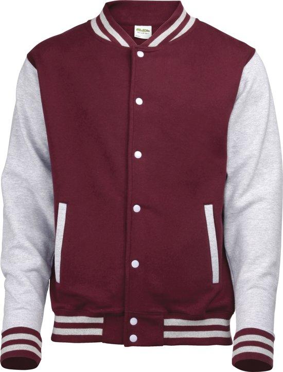 AWDis Varsity jacket, Burgundy/Heather Grey, Maat M
