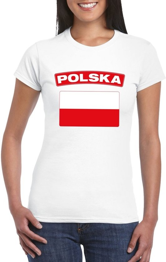 T-shirt met Poolse vlag wit dames XS