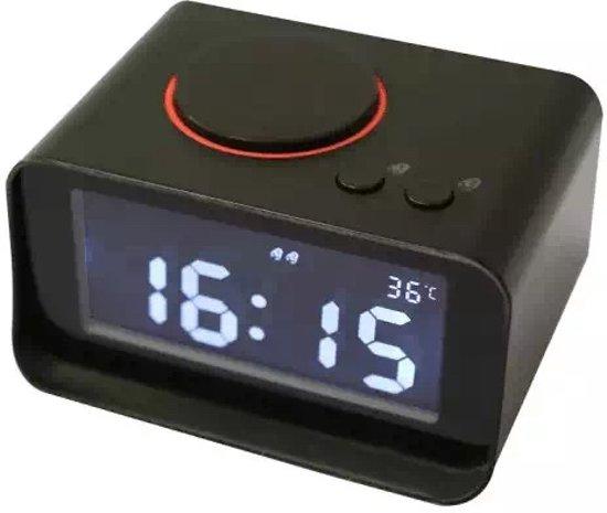 Wekker met USB Oplader en Thermometer (K2_Zwart)