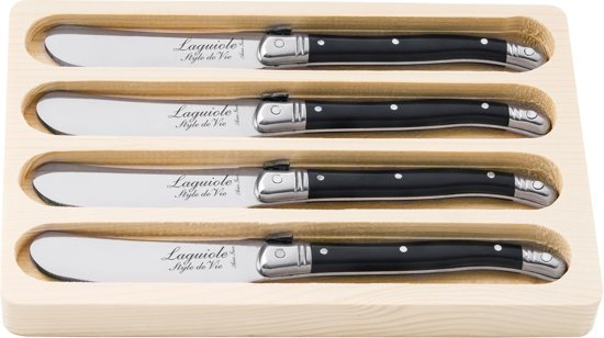 Laguiole Style de Vie Botermessen - 4 Stuks - Zwart