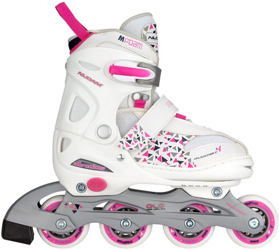 Nijdam Junior Inlineskates Junior Verstelbaar - Semi-Softboot - Wit/Fuchsia/Paars - 38-41