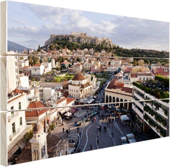 Monastiraki plein Athene Hout 160x120 cm - Foto print op Hout (Wanddecoratie) XXL / Groot formaat!
