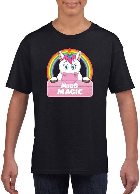Miss Magic de eenhoorn t-shirt zwart voor meisjes - eenhoorns shirt XS (110-116)