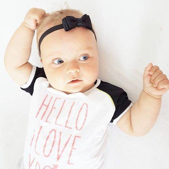 bol | zwart baby haarbandje met dubbele strik en dun bandje