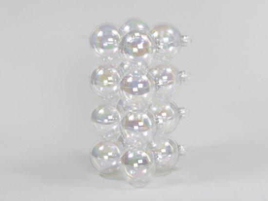 Doorzichtige Kerstballen - Cb. 16 Glasballen/cap Doorzichtig Pearl 80 Mm