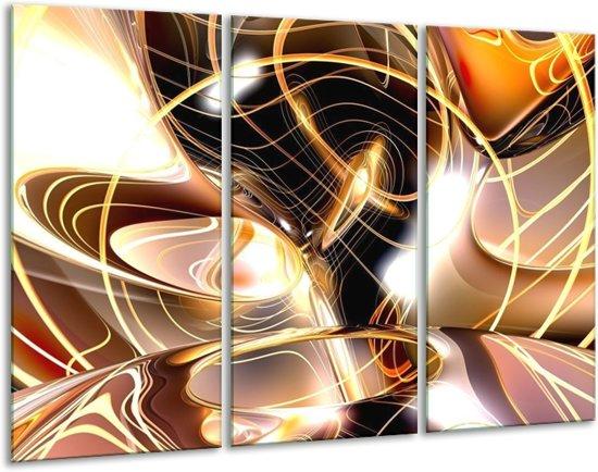 Canvas schilderij Abstract   Wit, Bruin, Wit   120x80cm 3Luik
