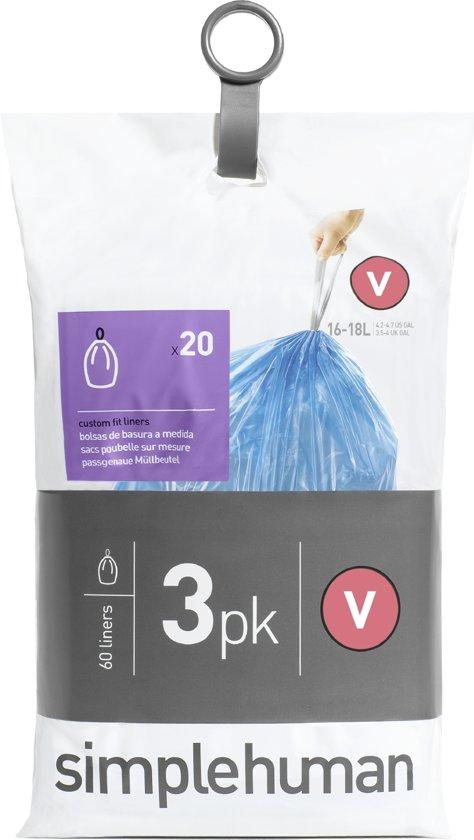 Simplehuman Afvalzak Code V Pocket Liners 16-18 Liter (60 stuks)