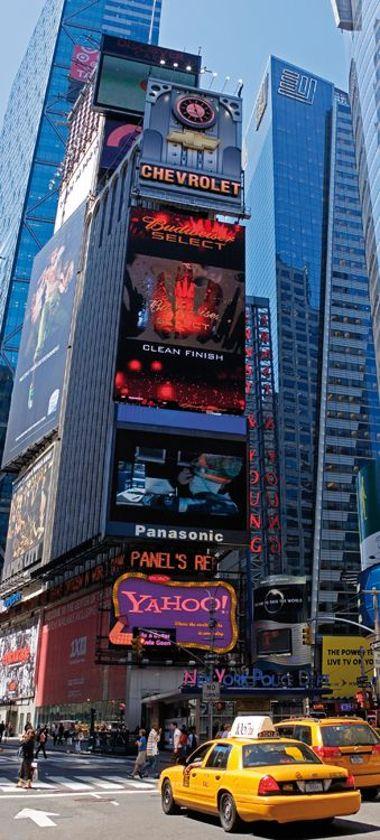 New York Deurposter behang Times Square / Taxi - 210 x 95 cm