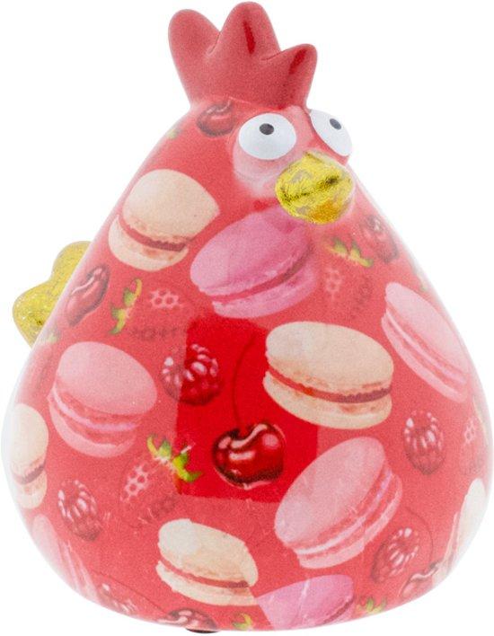 Kip Matilda spaarpot | Kip - Roze met macarons | Pomme pidou