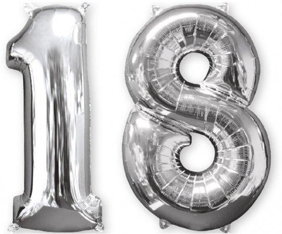 Amscan - Folieballon verjaardag '18' - zilver - Ø 66 cm - Set-1 Valentinaa