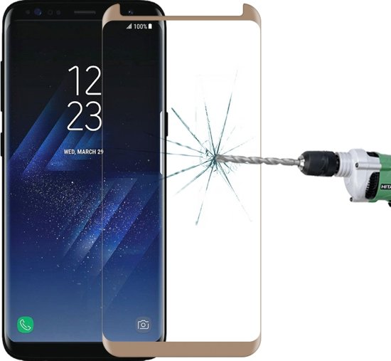 Mobigear Glazen Screenprotector Goud Case Compatible Samsung Galaxy S8 Plus in Hoenderloo
