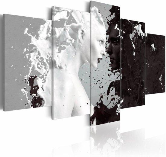 Schilderij - Vrouw abstract , zwart wit , 5 luik