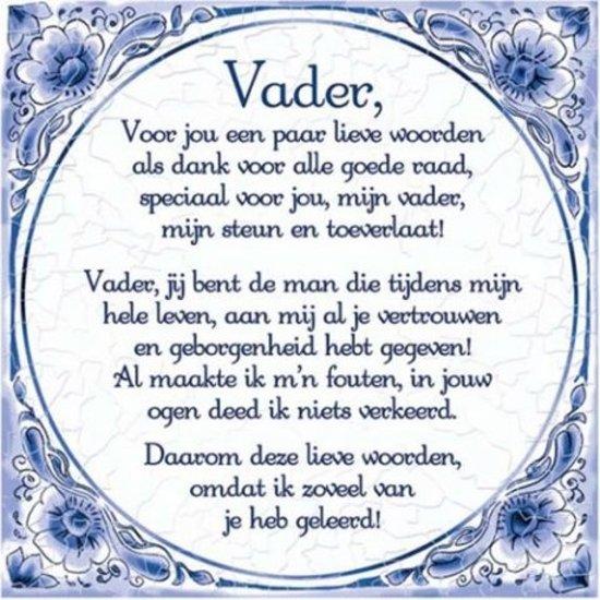 Delfts Blauwe Spreukentegel Vader Gedicht Delfs Blauwe Spreukentegel