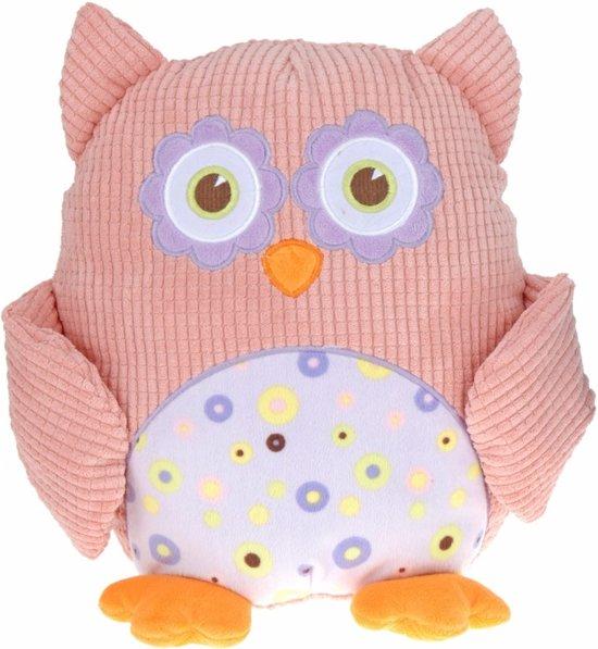 Pluche knuffel uil roze 28 cm