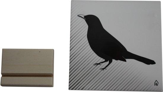 Keramische Tegel Merel Vogel-15x15cm-Inclusief houten tegelhouder-Housevitamin