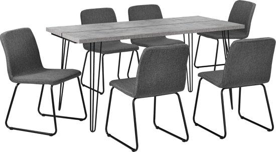 Eettafel Met 6 Stoelen.Eethoek Eettafel Pinpoten Betonlook En 6 Stoelen Grijs