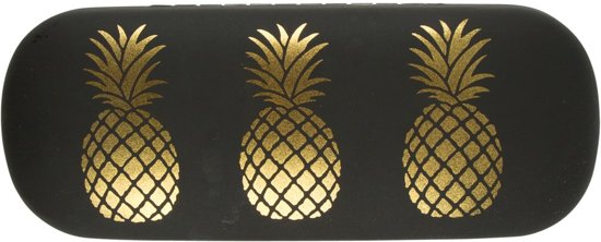 Brillenkoker met ananas in goudkleur / zwart