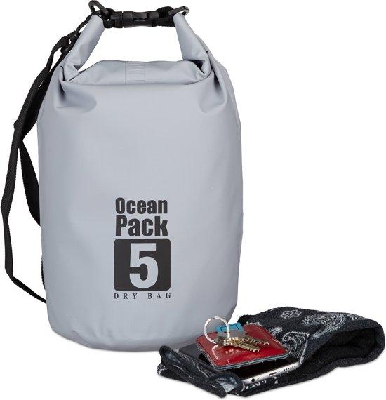 relaxdays Ocean Pack 5 liter - waterdichte tas - droogtas - outdoor plunjezak - zeilen donkergrijs