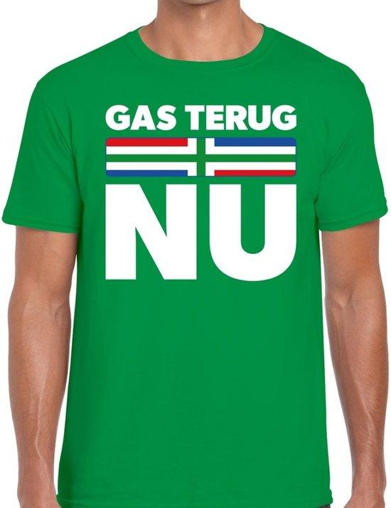 Groningen protest t-shirt gas terug NU groen voor heren -  Grunnen shirt voor heren 2XL