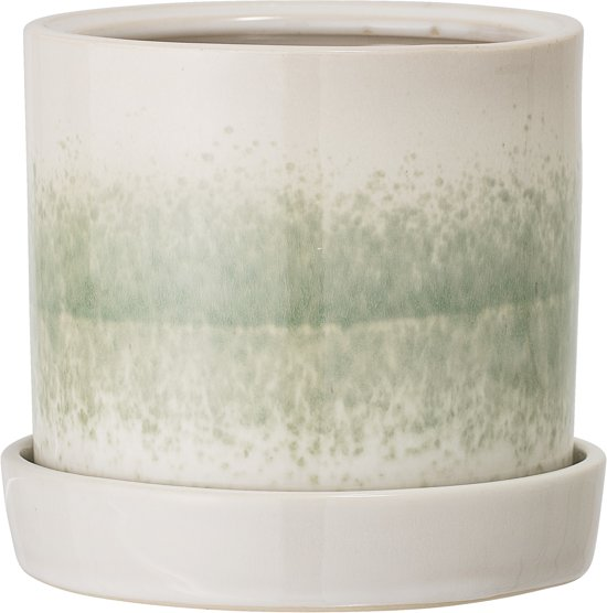 Bloomingville - Bloempot met schotel - Stoneware - Off White/Groen - P: 14xH13 / S: 15xH3 cm