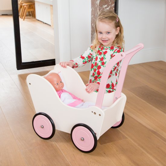New Classic Toys Poppenwagen met Beddengoed - Créme