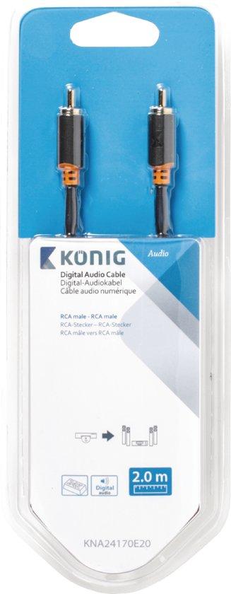 König Digitale Audiokabel RCA 2 Meter Grijs