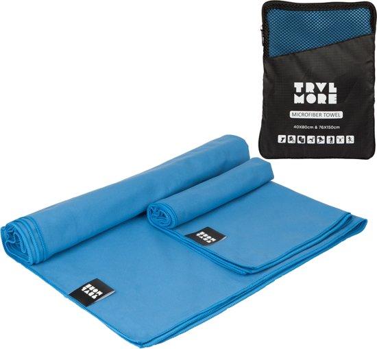 TravelMore Microvezel Reishanddoek Set – 2 Stuks - Small (40 x 80 cm) & Large (76 x 150 cm) – Sneldrogende Lichtgewicht Handdoek ideaal voor Kamperen, Strand, Outdoor, Fitness, Sport & Reizen – Microfiber Travel Towel – Blauw