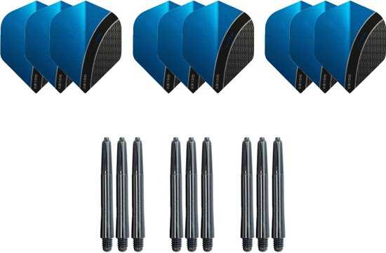 Dragon darts - Dartset - 3 sets Curve dart flights en 3 sets nylon darts shafts - 18 pcs - Aqua - darts flights