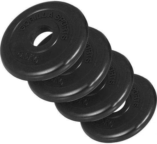 Gorilla Sports Halterschijven 4 x 0,5 kg Rubber - doorsnede 12,5 cm