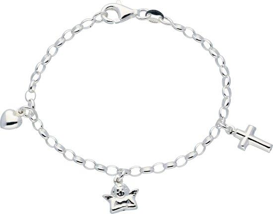 Lilly bedelarmband - zilver - ovale jasseron - hart - engel - kruis - 16 cm