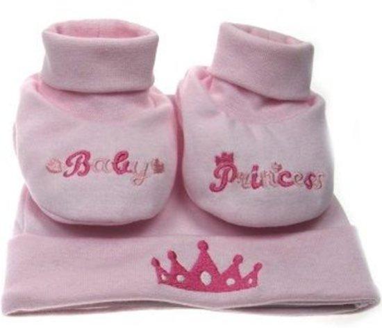 baby setje van slofjes en muts Baby Princess - roze met kroontje - kraamcadeau
