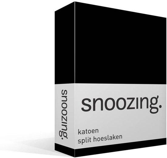 Snoozing katoen split hoeslaken Zwart Lits-jumeaux (160x210/220 cm) (75 zwart matras)