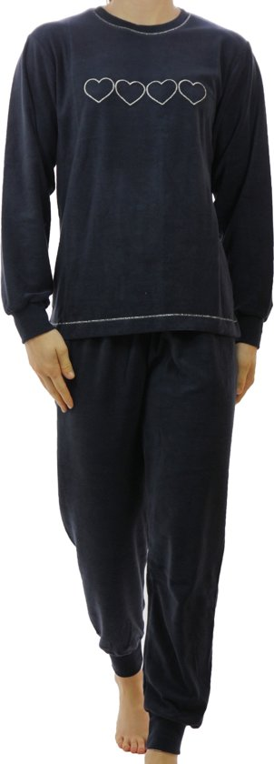 Lunatex badstof dames pyjama Hearts  - XL  - Blauw