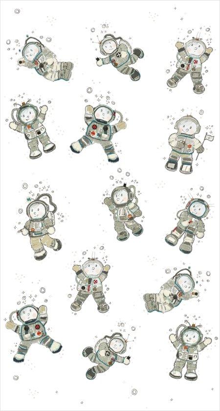 Fotobehang - Spacemen - Hanneke de Jager - Wit/Grijs - 150x280 cm