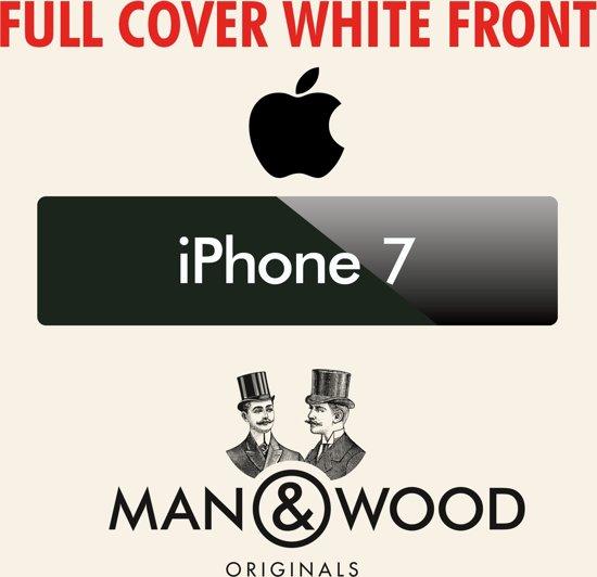 Man & Wood Full Cover diamant Screenprotector / Schermbescherming ECHT GEHARD GLAS - Apple iPhone 7 Plus - WIT
