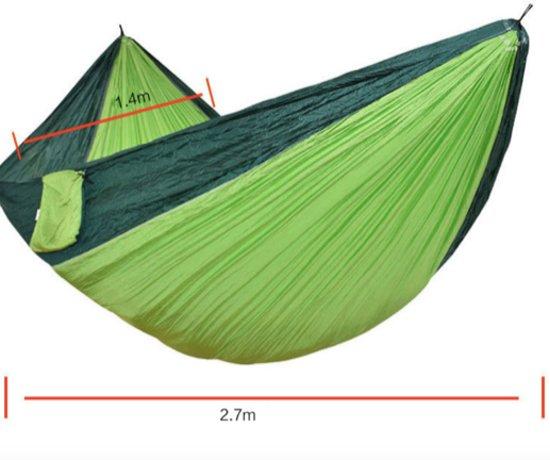 Compacte Hangmat Nylon 2 Persoons met Montage Accessoires - Groen