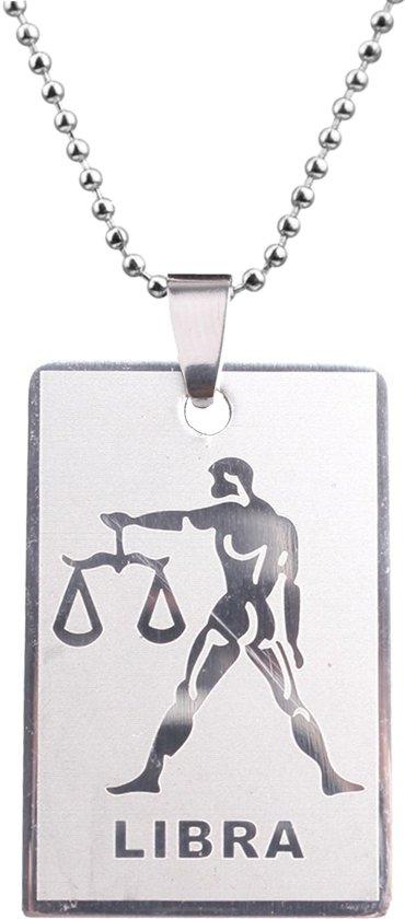 Fako Bijoux® - Ketting - RVS Hanger - Sterrenbeeld Rechthoek - Weegschaal