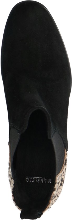Manfield - Dames Zwarte Chelsea Boots Met Cheetahprint