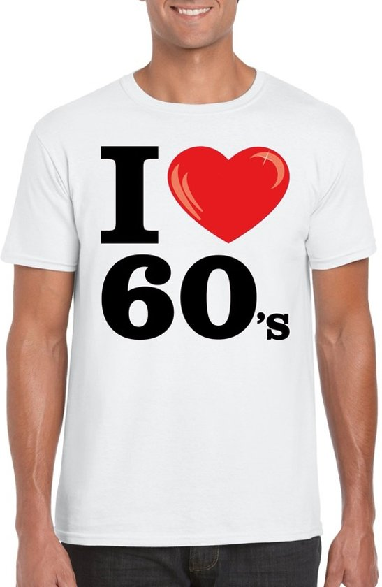 I love 60's t-shirt wit heren - sixties kleding 2XL