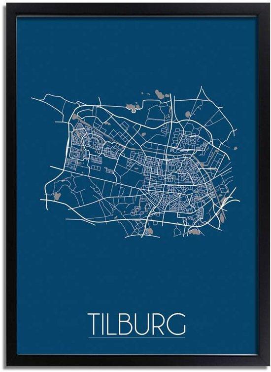 DesignClaud Tilburg Plattegrond poster Blauw A2 + Fotolijst zwart
