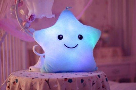 Bol.com lichtgevend blauw pluche kussen ster voor kinderen